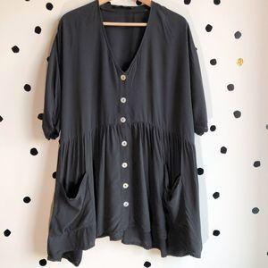 Zara Babydoll Smock Button Up Dress Black Medium